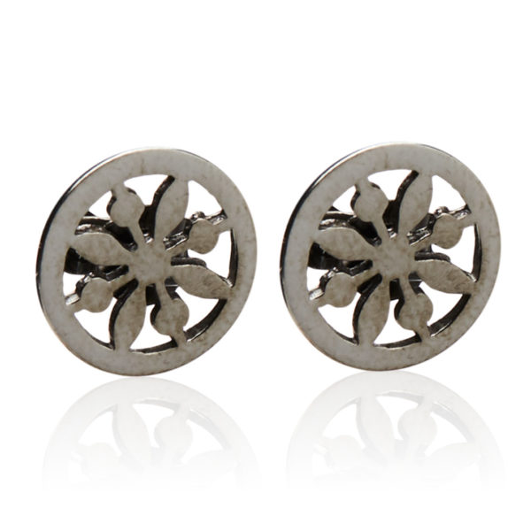 Solsikke ørering - Sølv - Solsikke black